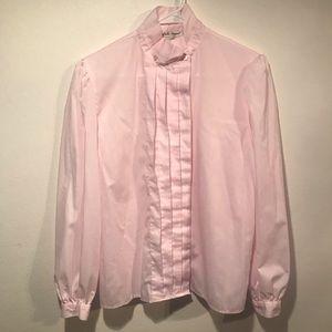 Vintage Pale Pink Tuxedo Style Blouse